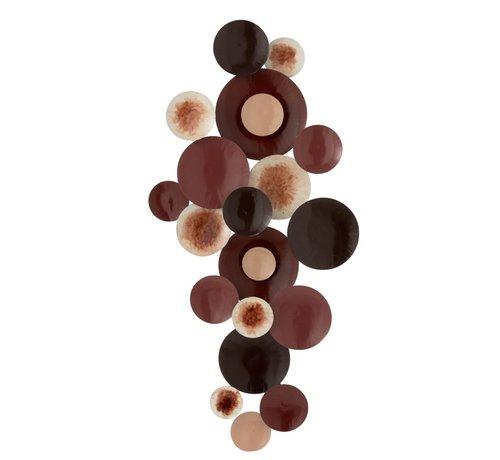 J -Line Wanddecoratie Cirkels Metaal Bordeaux Wit - Bruin