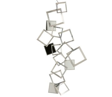 J -Line Wall decoration Squares Metal Bordeaux Mirror - Silver