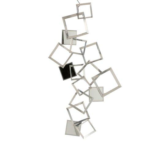 J -Line Wanddecoratie Vierkanten Metaal Bordeaux Spiegel - Zilver