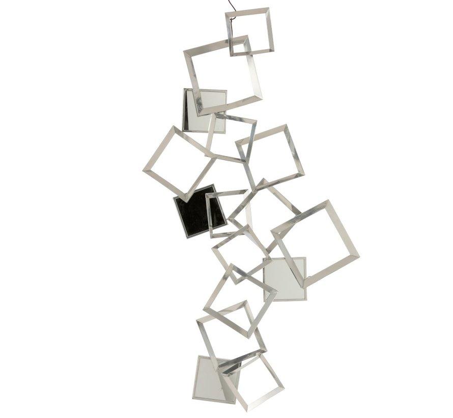 Wanddecoratie Vierkanten Metaal Bordeaux Spiegel - Zilver