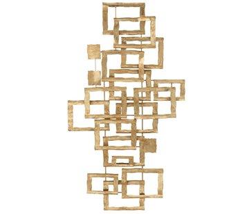 J -Line Wanddecoratie Overlappende Rechthoeken Metaal - Goud