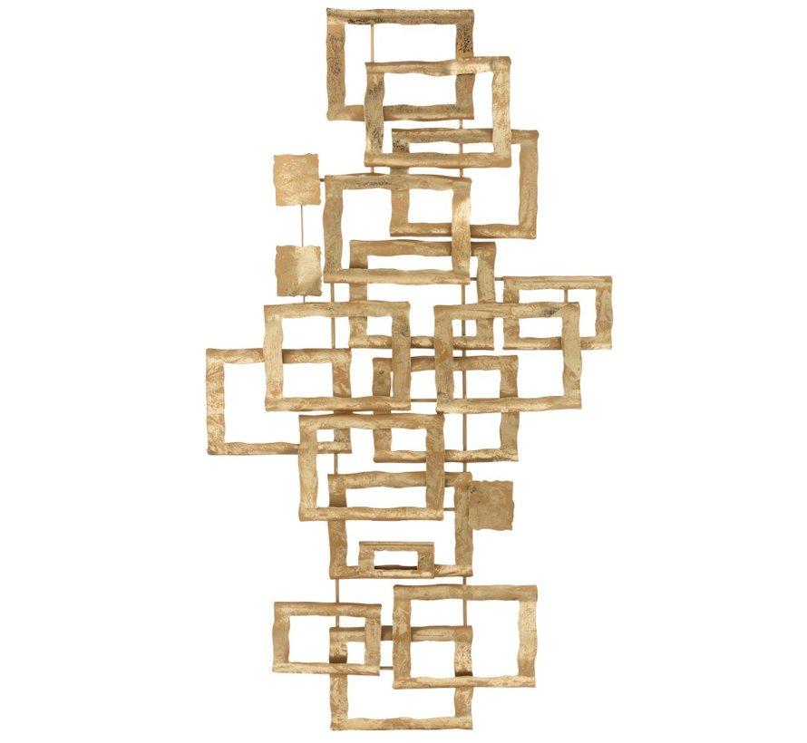 Wanddecoratie Overlappende Rechthoeken Metaal - Goud