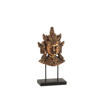 J-Line  Decoration Buddha Head On Foot Poly Rust Brown - Small
