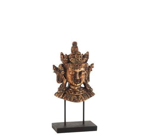 J-Line Decoratie Boeddha Hoofd Op Voet Poly Roestbruin - Small