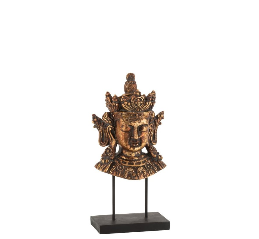 Decoration Buddha Head On Foot Poly Rust Brown - Small