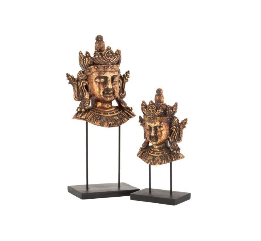 Decoratie Boeddha Hoofd Op Voet Poly Roestbruin - Small