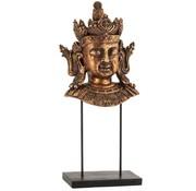 J-Line Decoratie Boeddha Hoofd Op Voet Poly Roestbruin - Large