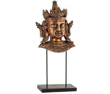 J-Line Decoration Buddha Head On Foot Poly Rust Brown - Large