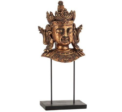 J -Line Decoration Buddha Head On Foot Poly Rust Brown - Large