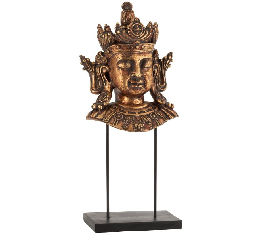 Decoratie Boeddha Hoofd Op Voet Poly Roestbruin - Large
