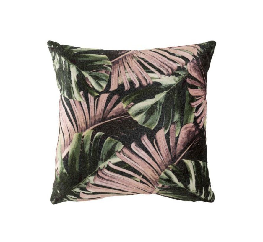Cushion Square Tropical Leaves Green - Purple