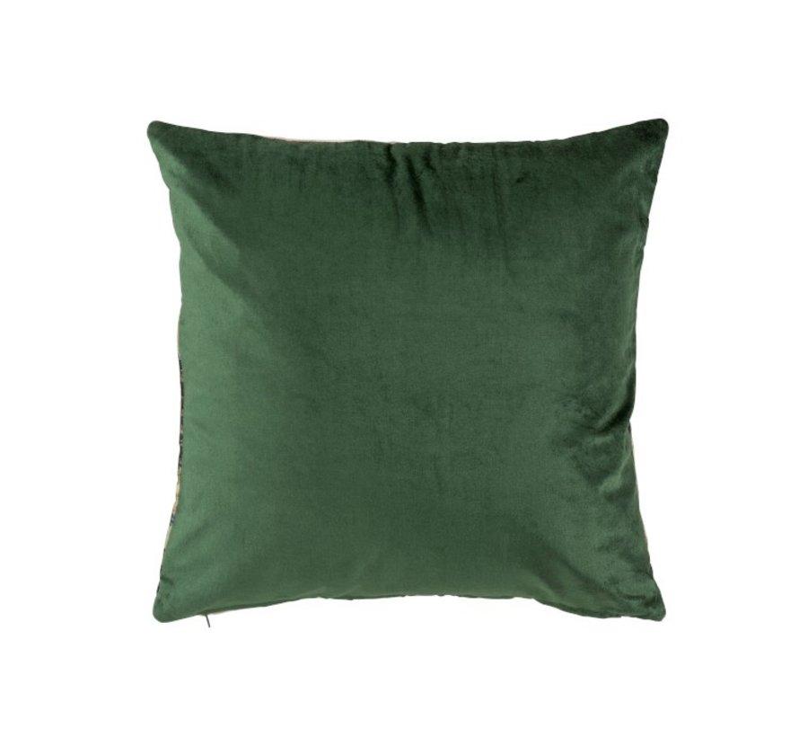 Cushion Square Tropical Fine Leaves Green - Purple