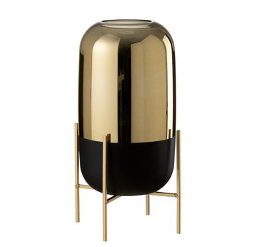 J -Line Vase On Foot Glass Metal Matt Black Gold - Large