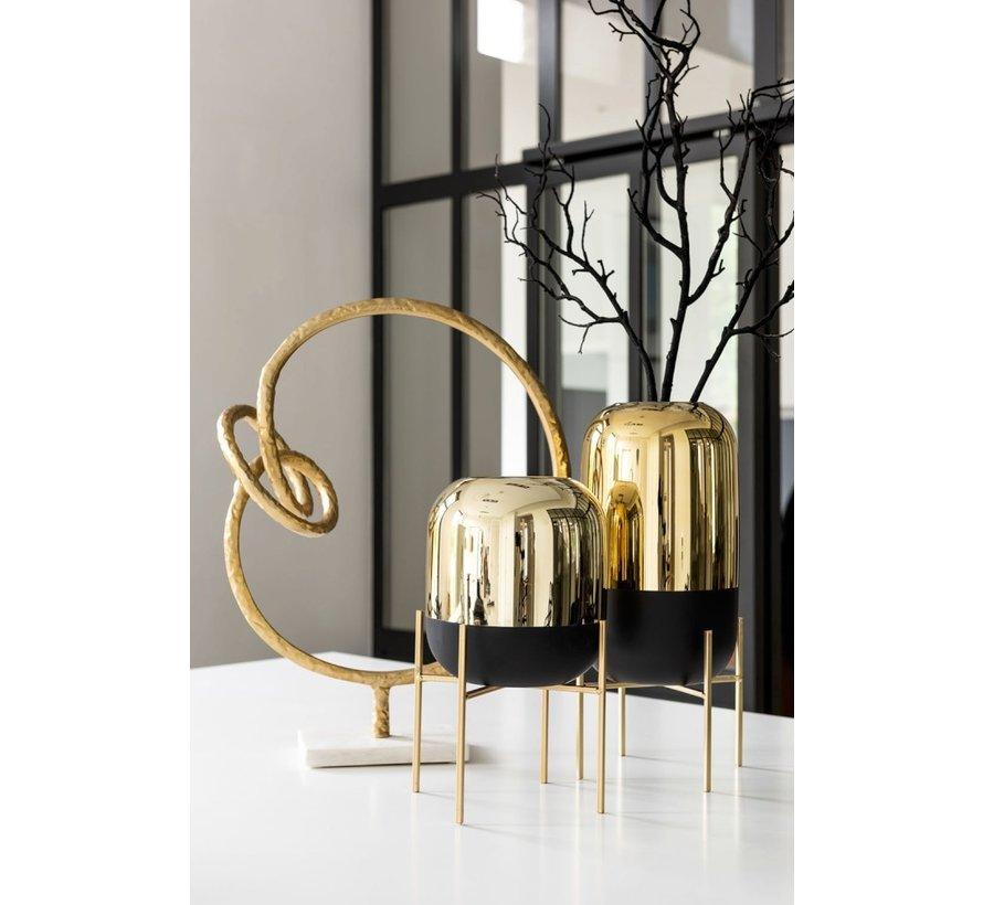 Vase On Foot Glass Metal Matt Black Gold - Large