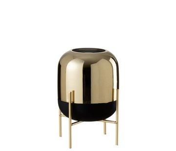 J -Line Vase On Foot Glass Metal Matt Black Gold - Small