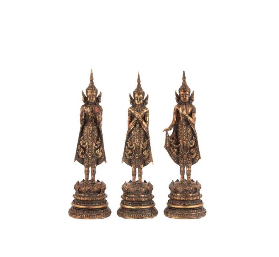 Decoratie Boeddha's Staand Polyester - Roestbruin