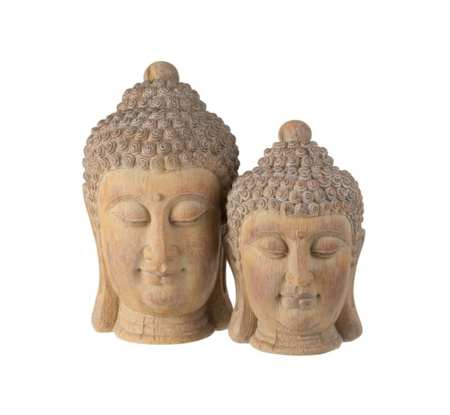 Decoration Buddha Head Poly Beige Gold - Large