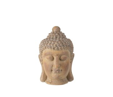 J -Line Decoration Buddha Head Poly Beige Gold - Small