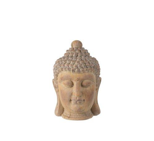 J -Line Decoration Buddha Head Poly Beige Gold - Small