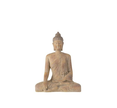 J -Line Decoration Buddha Sitting Poly Beige Gold - Large