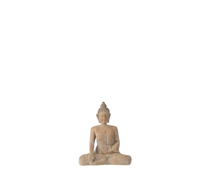 Decoratie Boeddha Zittend Poly Beige Goud - Small