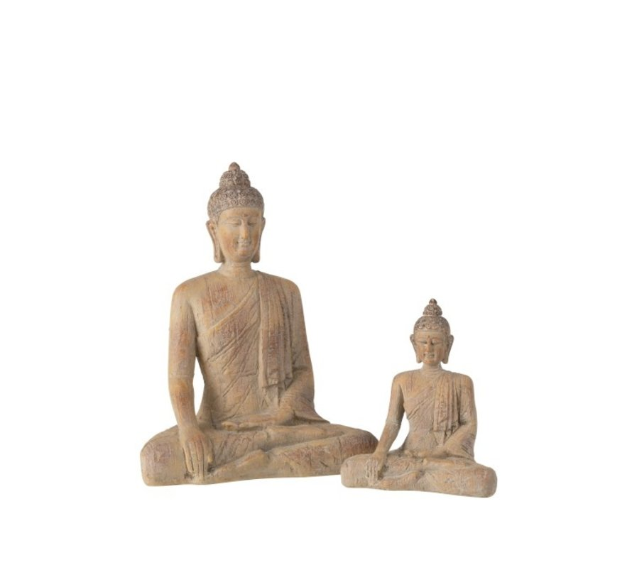 Decoration Buddha Sitting Poly Beige Gold - Small