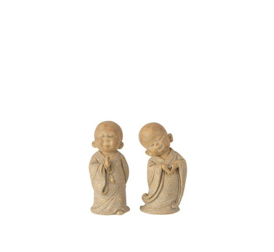 Decoratie Monniken Staand Poly Beige - Goud