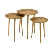 J-Line Decorative Side Tables Round Engraving Metal - Gold