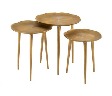 J -Line Decorative Side Tables Round Engraving Metal - Gold