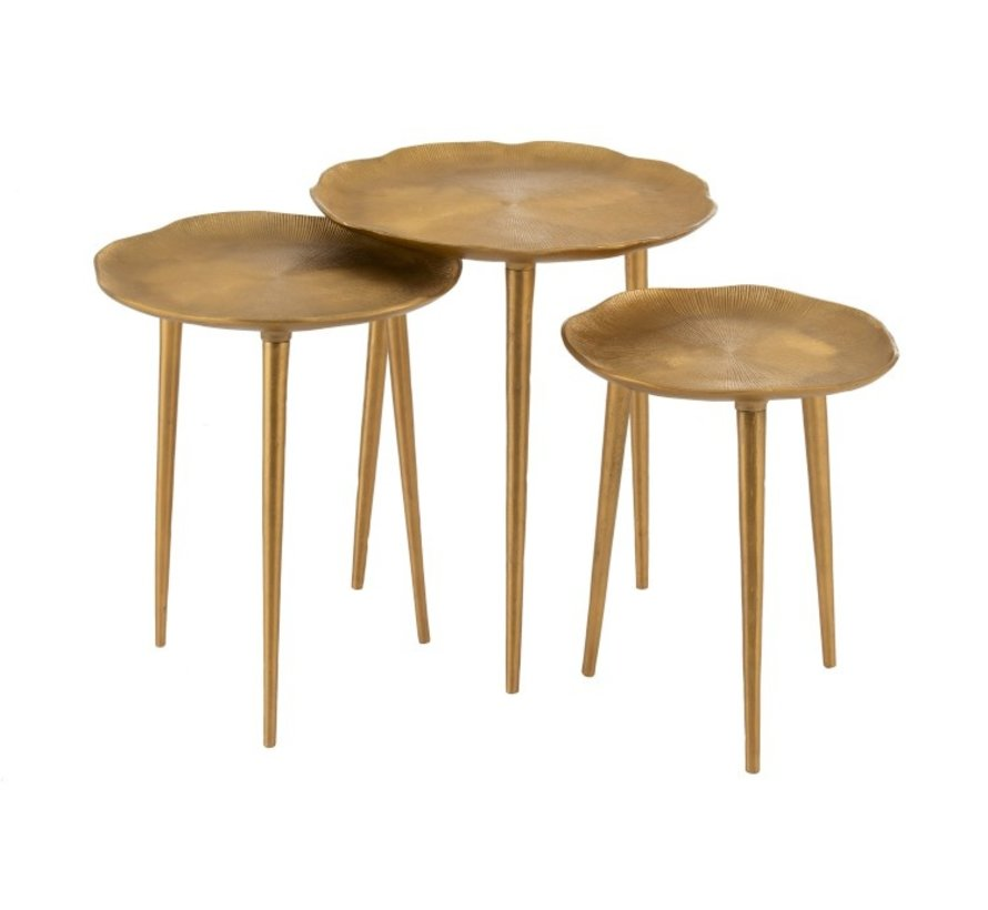 Decorative Side Tables Round Engraving Metal - Gold