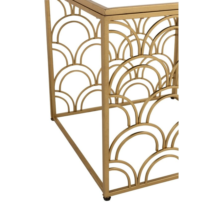 Decorative Side table Square Curved Metal - Gold