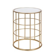 J -Line Decorative Side table Round High Metal Glass - Gold