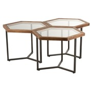J-Line Decorative Side tables Hexagonal wood Glass - Brown