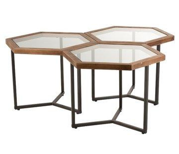 J-Line  Decoratieve Bijzettafels Zeshoekig hout Glas - Bruin