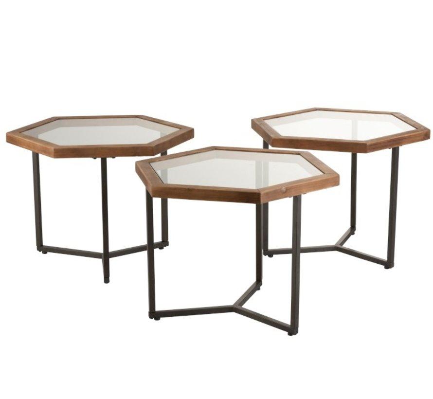 Decoratieve Bijzettafels Zeshoekig hout Glas - Bruin