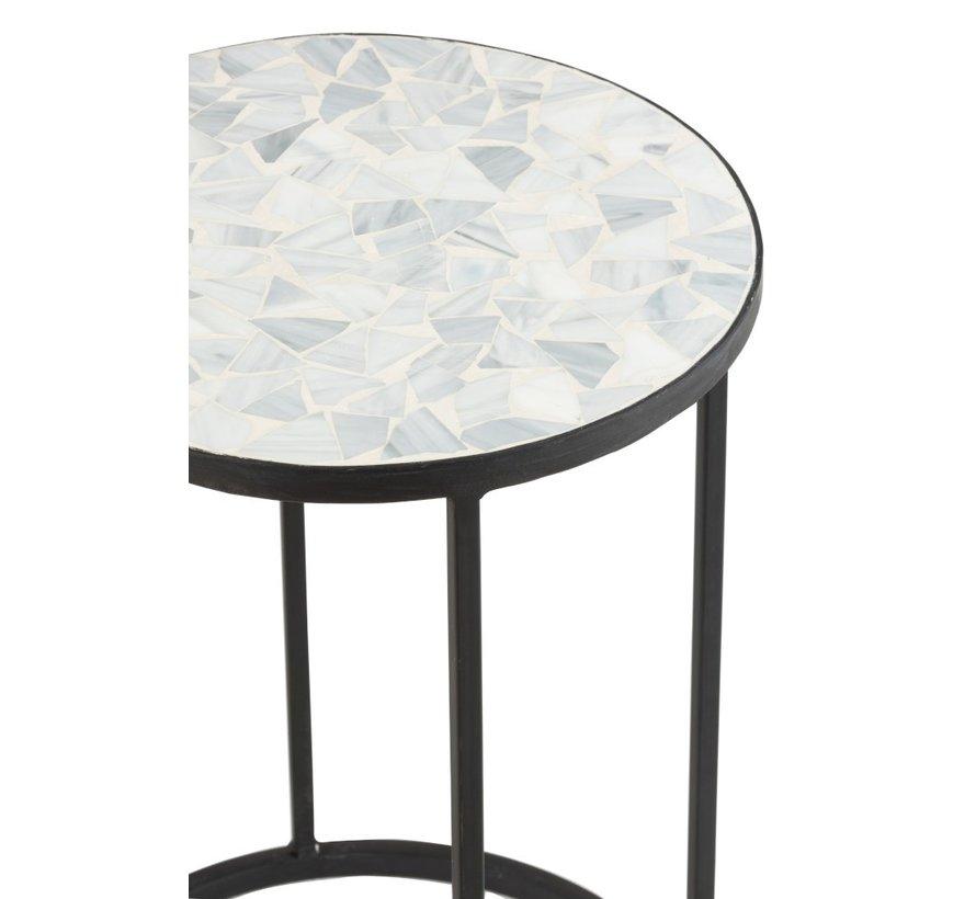 Side tables Round Mosaic Shards Black - Light Blue