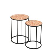 J -Line Side tables Round Mosaic Shards Black - Orange