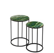 J -Line Side tables Round Mosaic Lines Black - Green
