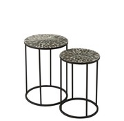 J -Line Side tables Round Mosaic Leaves Black - Taupe