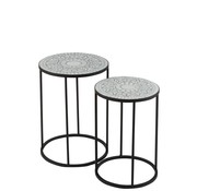 J -Line Side tables Round Mosaic Stars Black - White