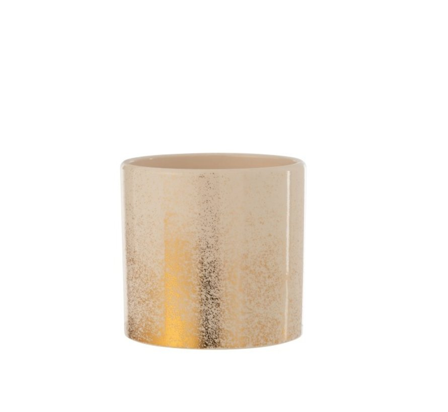 Flowerpot Ceramic Round Speckled Beige Gold - Large