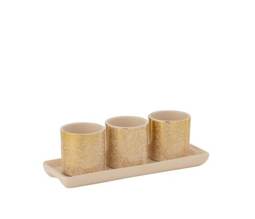 J -Line Flowerpots Round On Scale Speckled Beige - Gold