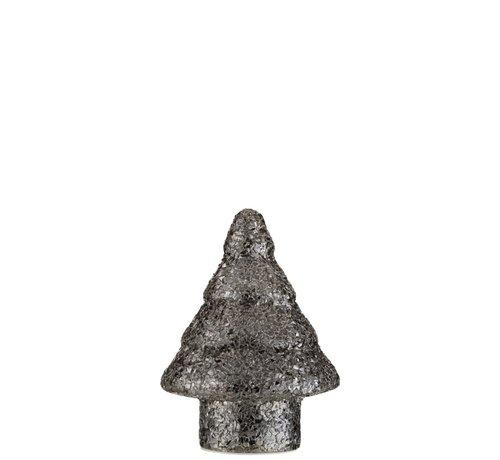 J -Line Decoratie Boompje Led Verlichting Parels Glas Zilver - Small