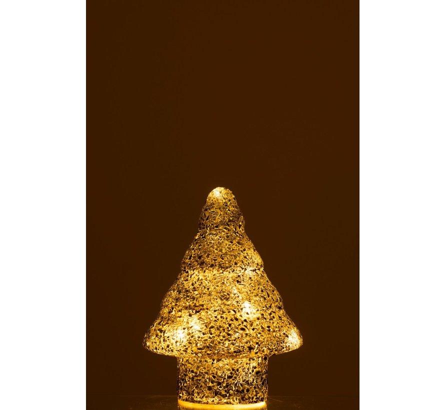 Decoratie Boompje Led Verlichting Parels Glas Zilver - Small
