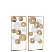 J -Line Wall decoration Overlapping Circles Metal White - Gold