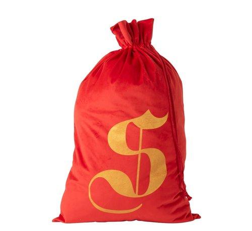 J -Line Storage bag Christmas atmosphere Velvet Red Gold - Large