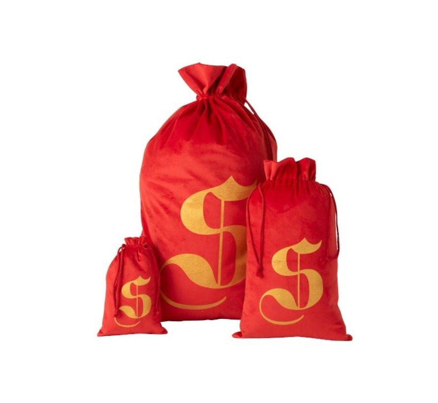 Storage bag Christmas atmosphere Velvet Red Gold - Large