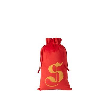 J -Line Storage bag Christmas atmosphere Velvet Red Gold - Medium