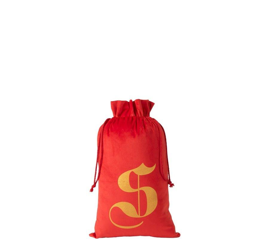 Storage bag Christmas atmosphere Velvet Red Gold - Medium