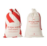 J-Line Storage bags Christmas atmosphere Text Cotton White Red - Large